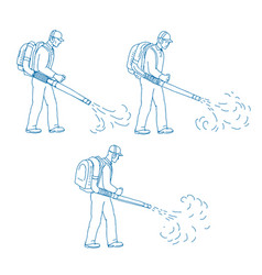 Gardener leaf blower drawing vector