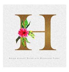 Golden letter h watercolor floral background vector