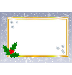 golden shiny christmas card border with holly leaf vector image