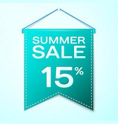 Green pennant with inscription summer sale fifteen vector