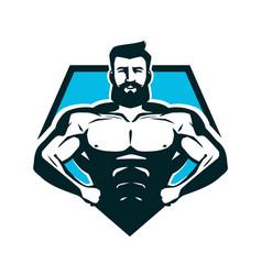 Gym bodybuilding logo or label strong man vector