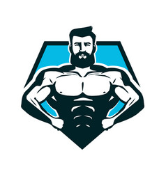 Gym bodybuilding logo or label strong man with vector