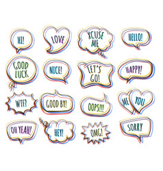 Hand drawn colorful speech bubbles vector