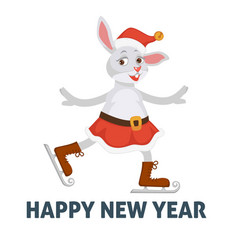 happy new year poster bunny on skating ice rink vector image
