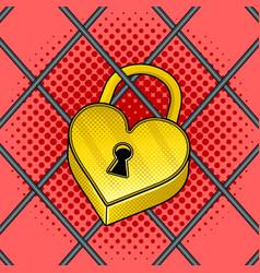 heart shaped lock pop art vector image
