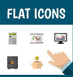 icon flat incoming set of chart piggy bank graph vector image