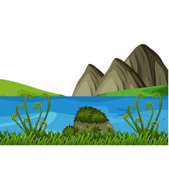 Lake and moutain scene vector