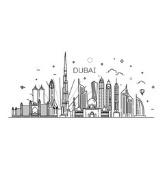 Linear banner of dubai city all buildings vector