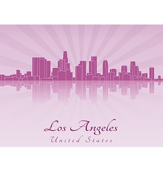 Los Angeles skyline in purple radiant orchid vector image