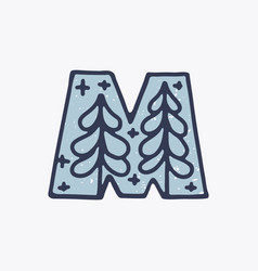 M letter logo with forest in nordic folk art vector