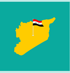 map syria and flag national syrian symbol vector image