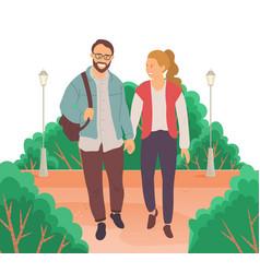Meeting people in love couple walking down vector