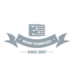 Micro technology logo simple gray style vector