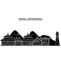 Nepal kathmandu architecture city skyline vector
