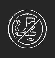 No alcohol and cigarettes chalk white icon vector