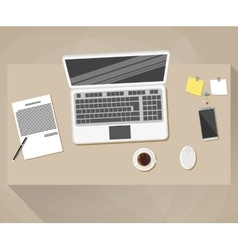 Office workspace Flat design style vector image