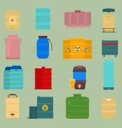Oil drums container liquid cask storage vector