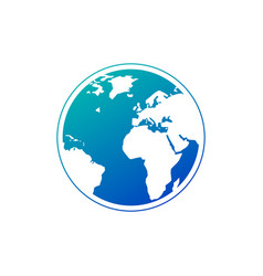 planet earth icon in gradient blue color earth vector image