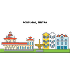 portugal sintra city skyline architecture vector image