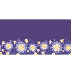 Purple flowers and leaves horizontal seamless vector image
