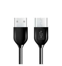 realistic black usb cable connection plug vector image