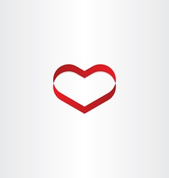 Red heart ribbon banner symbol vector