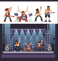 rock music rockers band performing on stage singer vector image