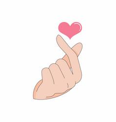 Saranghae finger sign korean pop culture vector