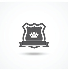 Shield icon with ribbon and crown vector image