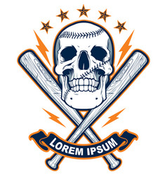Skull with baseball bats vector