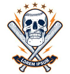 skull with baseball bats vector image