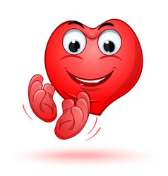 Smiling heart claps his hands with joy vector