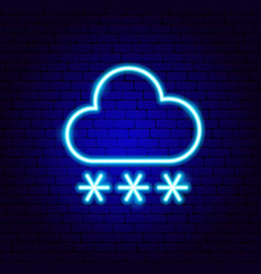 snowy cloud snowflakes neon sign vector image