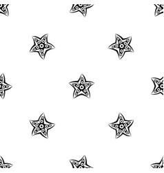 Starfish pattern seamless black vector