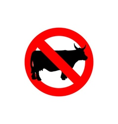 Stop cow Prohibited cattle Frozen farm animal Red vector