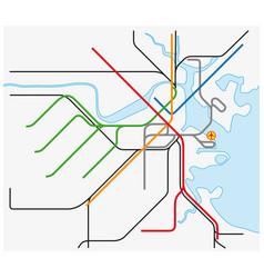 Subway map boston massachusetts united states vector