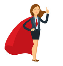 Superwoman in heroic pose with large red cloak vector