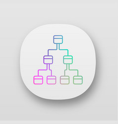 Tree diagram app icon 3-space ring hierarchical vector