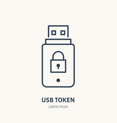 Usb token identity flat line icon vector
