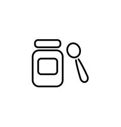 web line icon baby food jar spoon and puree vector image