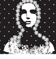 winter portrait black and white vector image