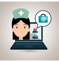 woman nurse laptop health vector image