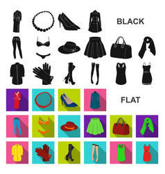 Women clothing flat icons in set collection for vector