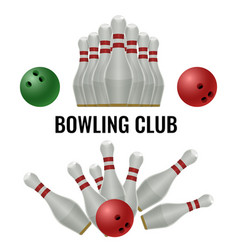 bowling club logo design of equipment for play vector image vector image