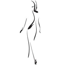 fashion models sketch hand drawn cartoon girl vector image vector image