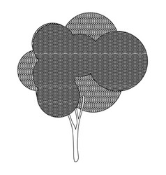 monochrome silhouette plant forest with wave lines vector image