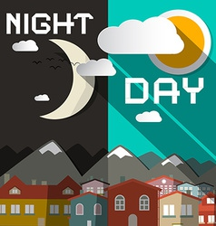 Night and Day with Mountain City and Sun wit vector image vector image