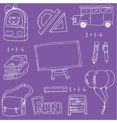 On purple backgrounds school education doodles vector image