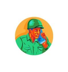 World War Two Soldier American Talk Radio WPA vector image