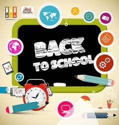 Back to school title on black board with education vector
